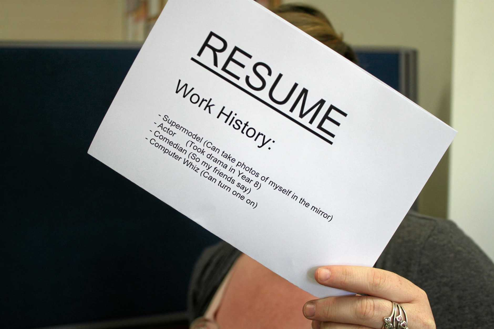 INFLATED RESUME: Ever slightly exaggerated your skills on your CV? Photo Georja Ryan / Warwick Daily News