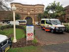 Ambulance vehicles outside Grafton jail after an incident in the prison this afternoon.