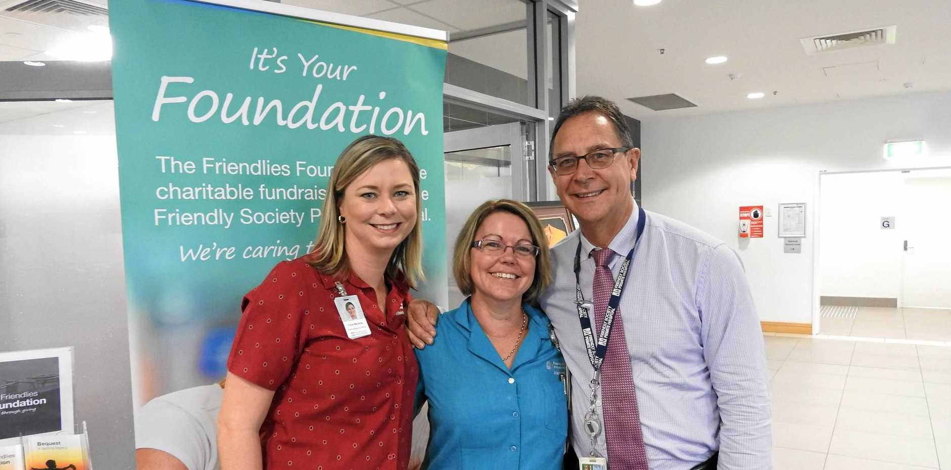 ONCOLOGY DONATION A BOOST: The Friendlies Foundation public relations officer Fiona Macaulay, Day Oncology Unit nurse unit manager DA Halpin and Friendly Society Private Hospital CEO Alan Cooper.
