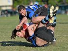SET TO COLLIDE AGAIN: Maroochydore's Rick Portingale tackles a Toads player. The two teams will meet again on Saturday.