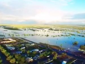 Spectacular footage of flood waters at Winton