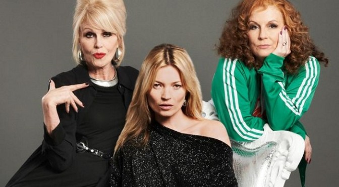 Eddy and Patsy with Kate Moss in Absolutely Fabulous the movie