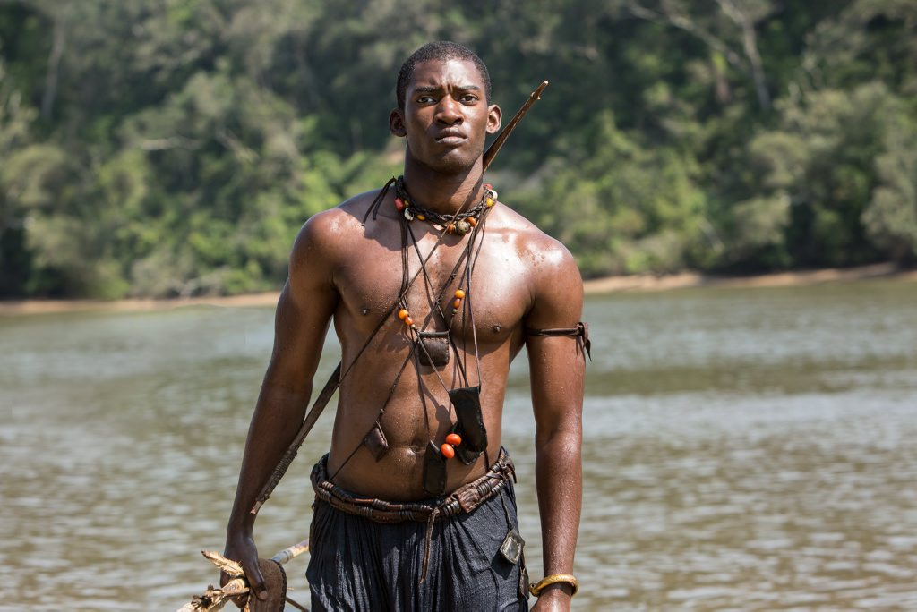Malachi Kirby as Kunta Kinte in a scene from the TV series Roots.