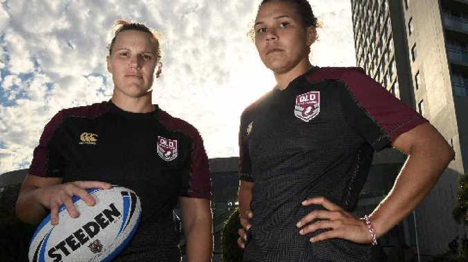 READY: Mackay's Renae Kunst (left) and Libby Cook-Black will play for Queensland. Brittany Brealey, also from Mackay, and Clermont's Tegan Rolfe will also take to the field for the match against NSW.