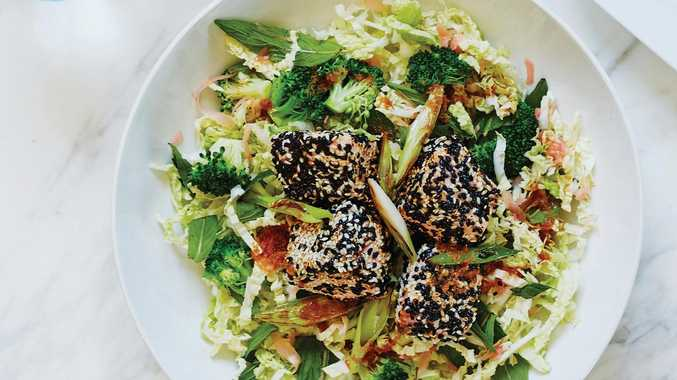Sesame crusted salmon with Asian slaw, from The Happy Hormone Cookbook.