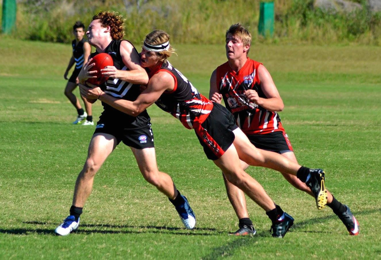AFL match between Port Macquarie Magpies and Sawtell-Toormina Saints at Wayne Richards Park.