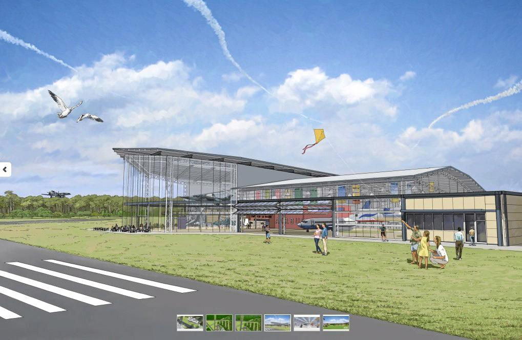 AMBITIOUS: A frontal perspective the proposed new aviation museum at Evans Head. The project would require separate development approval to the current airpark proposal.
