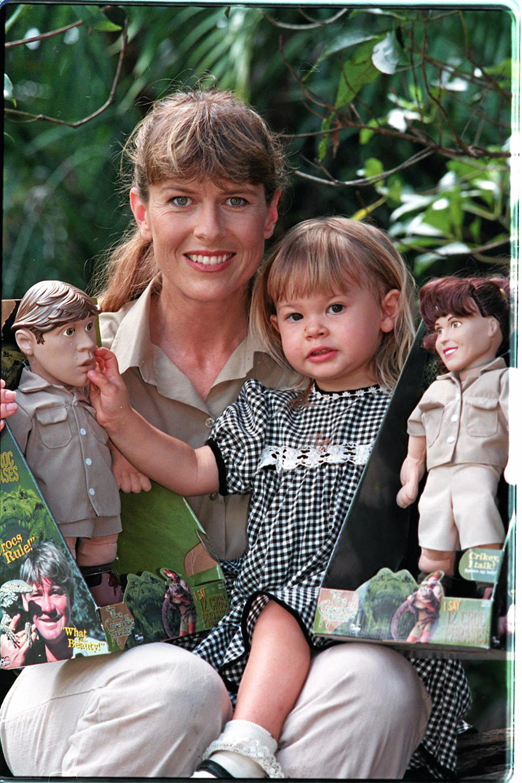 Terrie Bindi Irwin with some of their merchandise at Australia Zoo.