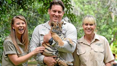 Bindi Irwin, mum Terri and head of Australia Zoo's Big Cats department Geoff Neubecker with Scout the tiger cub.