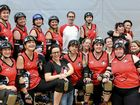 TIGHT PACK: The Rum City Derby Dolls last year before the 2015 Skate Of Emergency.