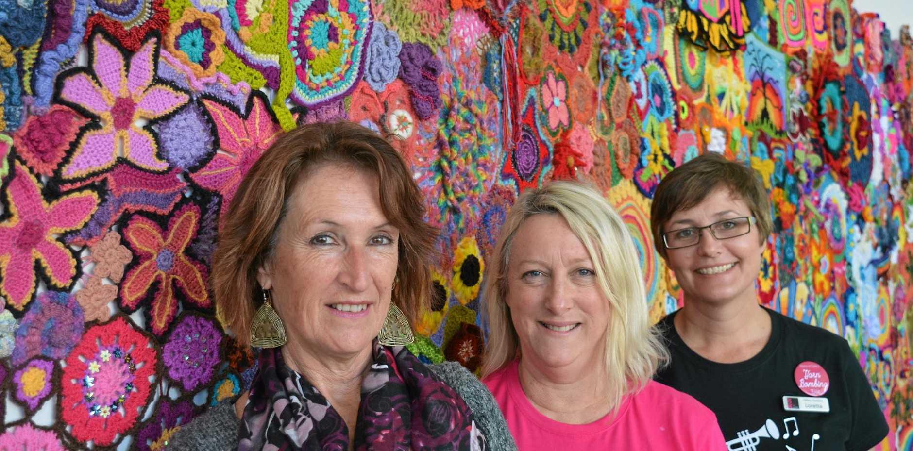 QUICK YARN: Sue Jacobsen, Karina Devine and Loretta Grayson.