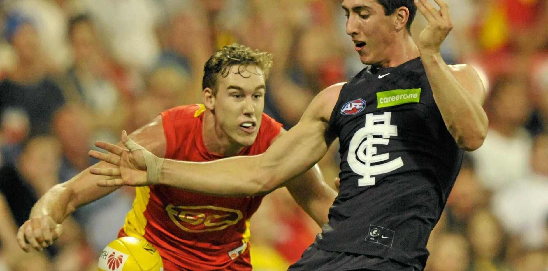 YOUNG GUN: Jacob Weitering of the Blues could spend time marking Swan Lance Franklin when the sides meet.