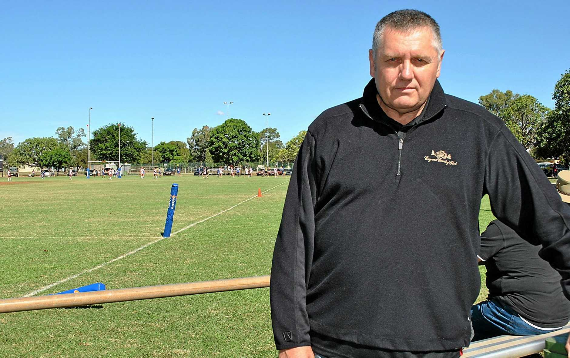 Well-known radio personality, Ray Hadley, dropped in to St George on Sunday to watch a bit of rugby league. Photo Karen Berry / Balonne Beacon