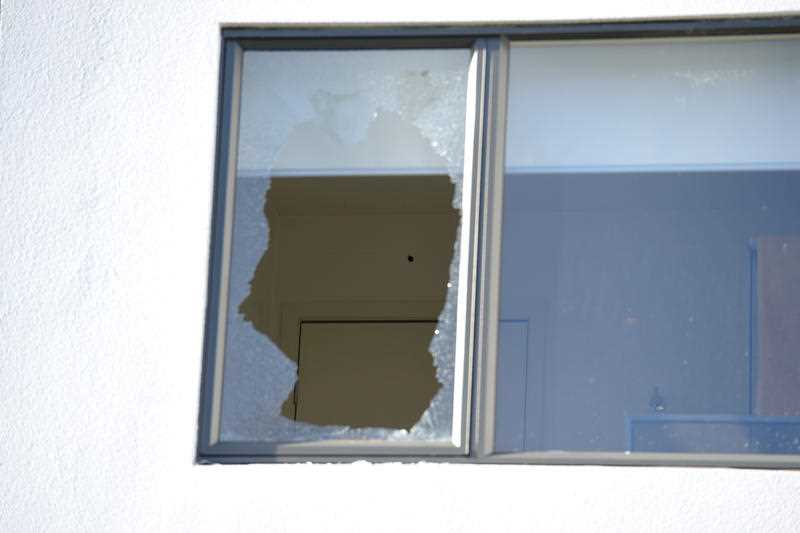Bullett holes at the Ascot Vale house where former sport scientist Stephen Dank was shot and injured in Melbourne, Saturday, July, 23, 2016.