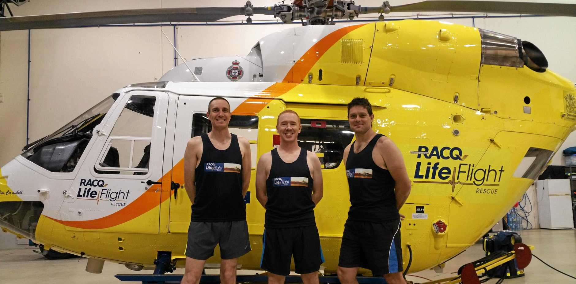 Left to right, LifeFlight air crewman Dan King, doctor Matthew Mulkeen and critical care paramedic Anthony Crompton are taking part in the Pomona King of the Mountain Challenge.