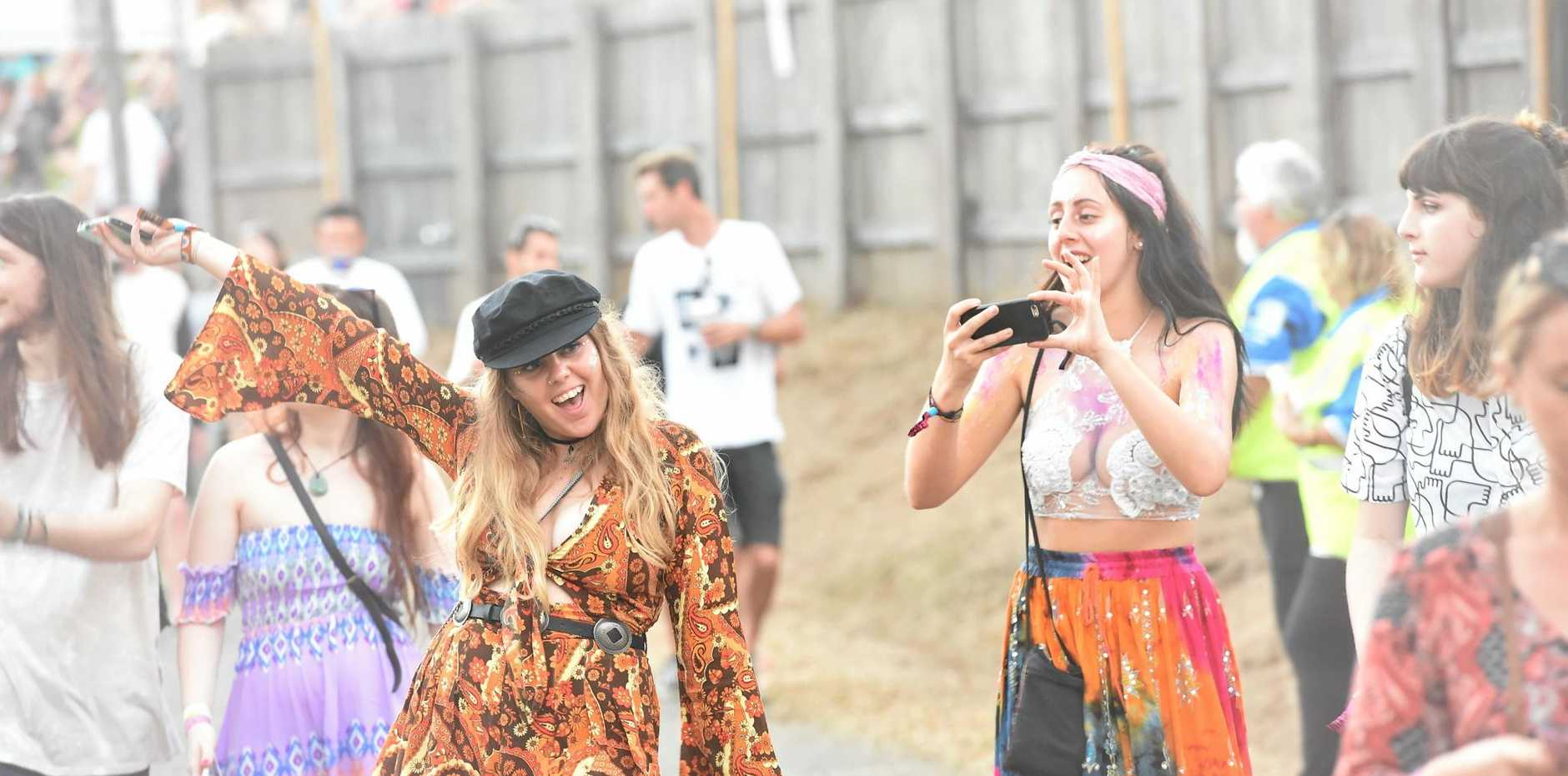 Festival goers sporting various fashions enjoyed themselves at Splendour in the Grass.