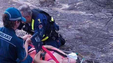 Paramedics secure Stevie Burscough.