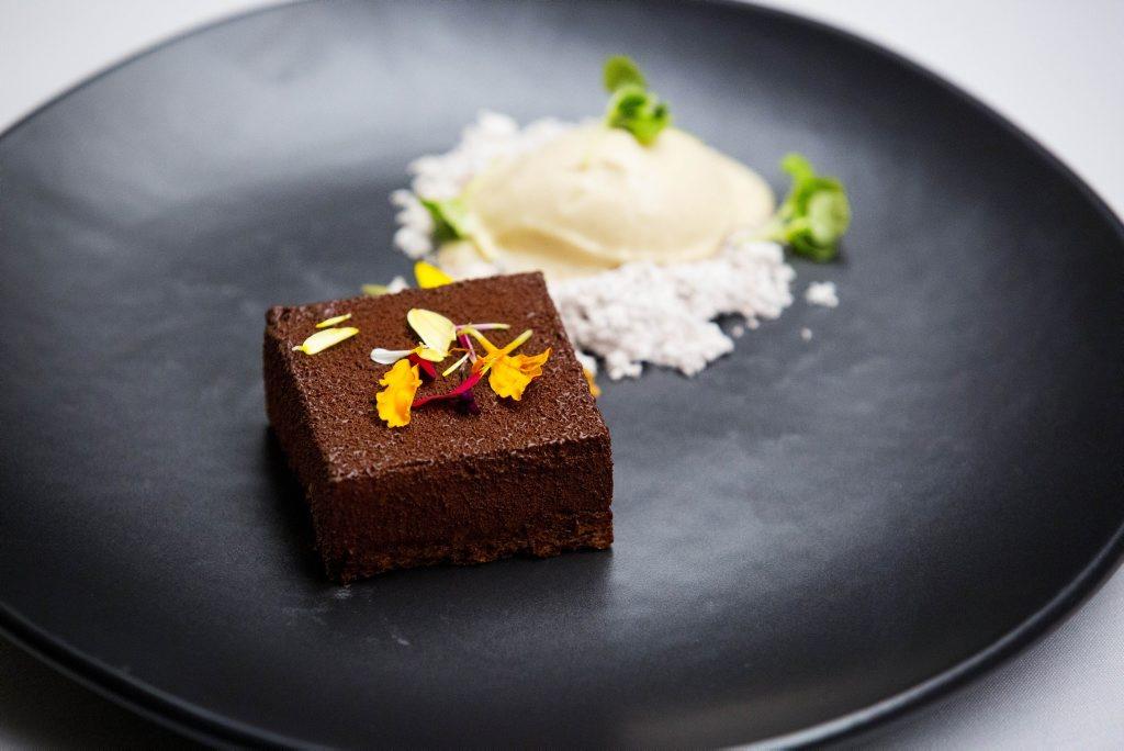 Harry Foster's semi-final dessert, an espresso bavarois with marsala ice cream.
