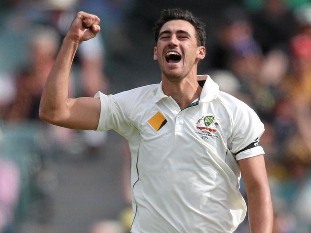 DANGER MAN: Australia's Mitchell Starc celebrates a wicket.