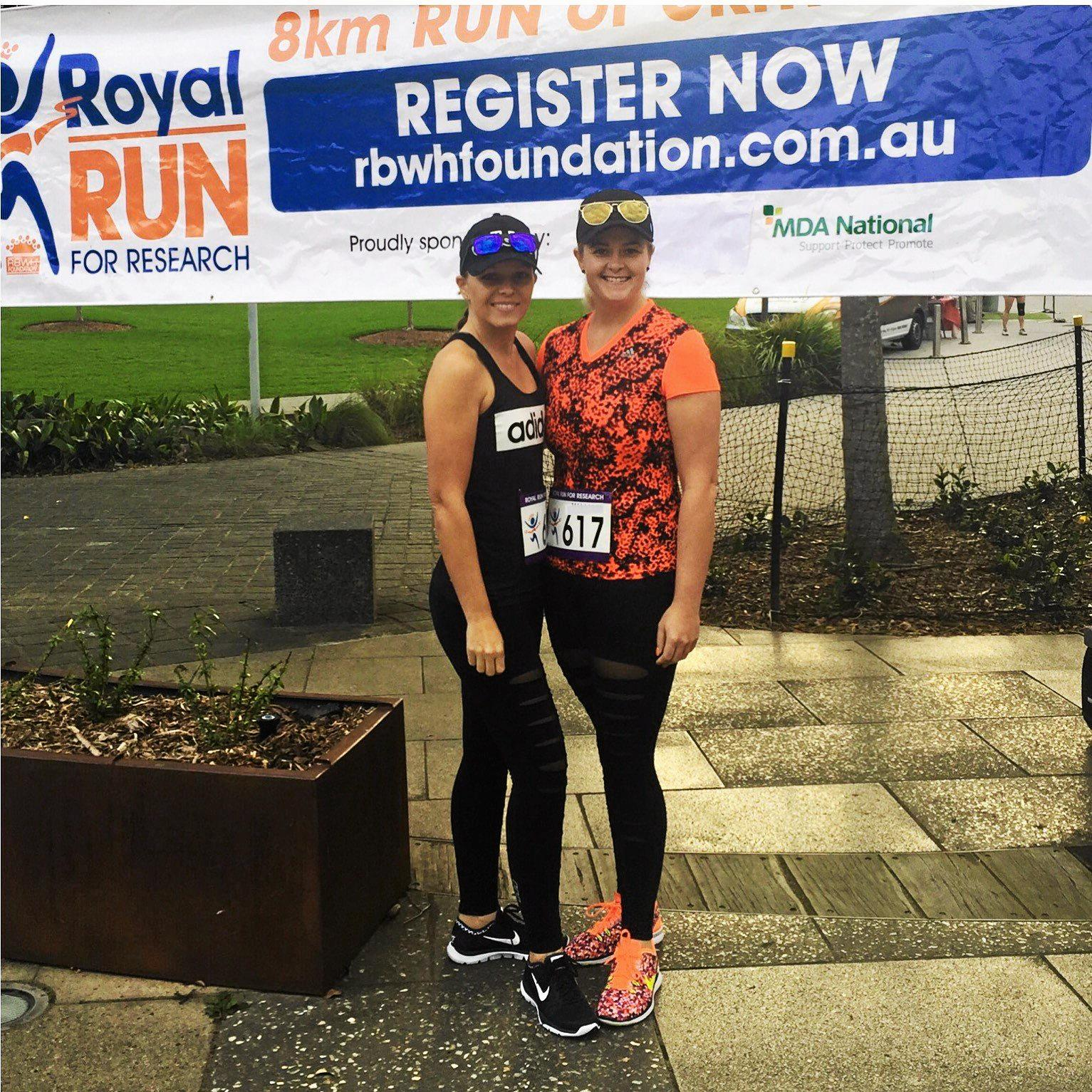 Tamara Dooley and Laurena Furber take part in the Royal Run for Research to raise money for the hospital where their father Trevor Heyes has been recovering from a motorbike crash.