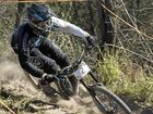 RAPID RIDE: Jack Wright tackles the Jubilee Park downhill track in the elite men category Top 30 shootout of round four of the SEQ Downhill Series.