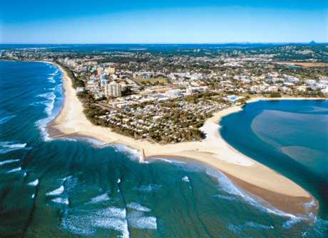 FROM ABOVE: Cotton Tree and Maroochydore from the air shows the prime location of the iconic caravan park.