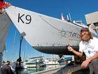 Fedor Konyukhov lifts his rowing vessel, Tourgoyak, from the water at the Mooloolaba Marina. Photo: Brett Wortman / Sunshine Coast Daily