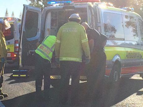 Motorbike rider and kangaroo collide on Barthodt Dr at Branyan. Photo Contributed