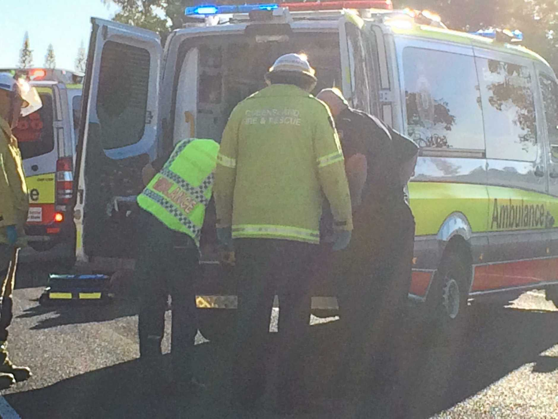 Motorbike rider and kangaroo collide on Barthodt Dr at Branyan. Photo Contributed