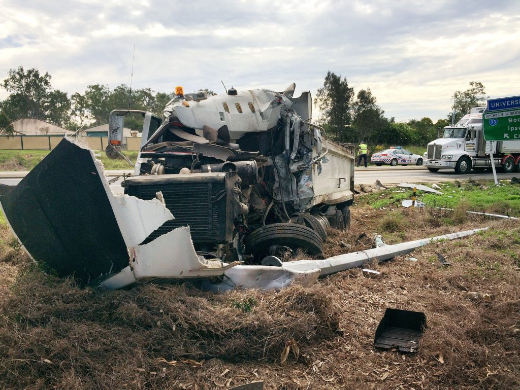 A WOMAN has been taken to Ipswich Hospital following an accident this morning. A B-double crashed on the Cunningham Highway at Yamanto.
