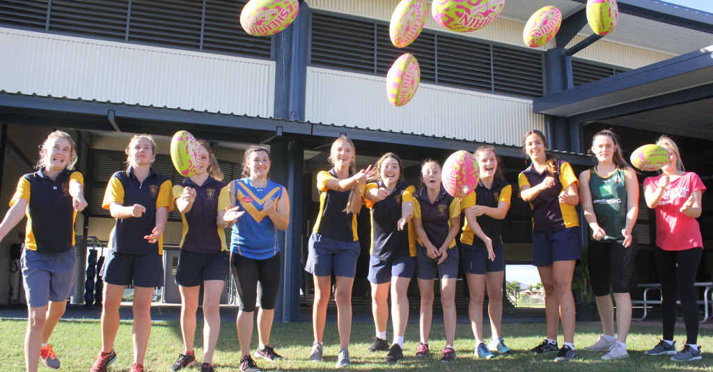 GO GIRLS: Letishia Davies, Sahara Taylor-Crane, Tori Mansfield, Brooke Draper, Takeisha Graham, Darcy Semmler, Ruby Poole, Chloe Hinschen, Caitlyn Newbery, Angelique Golding and Chelsea Castle at the AFL skills workshop last Wednesday.