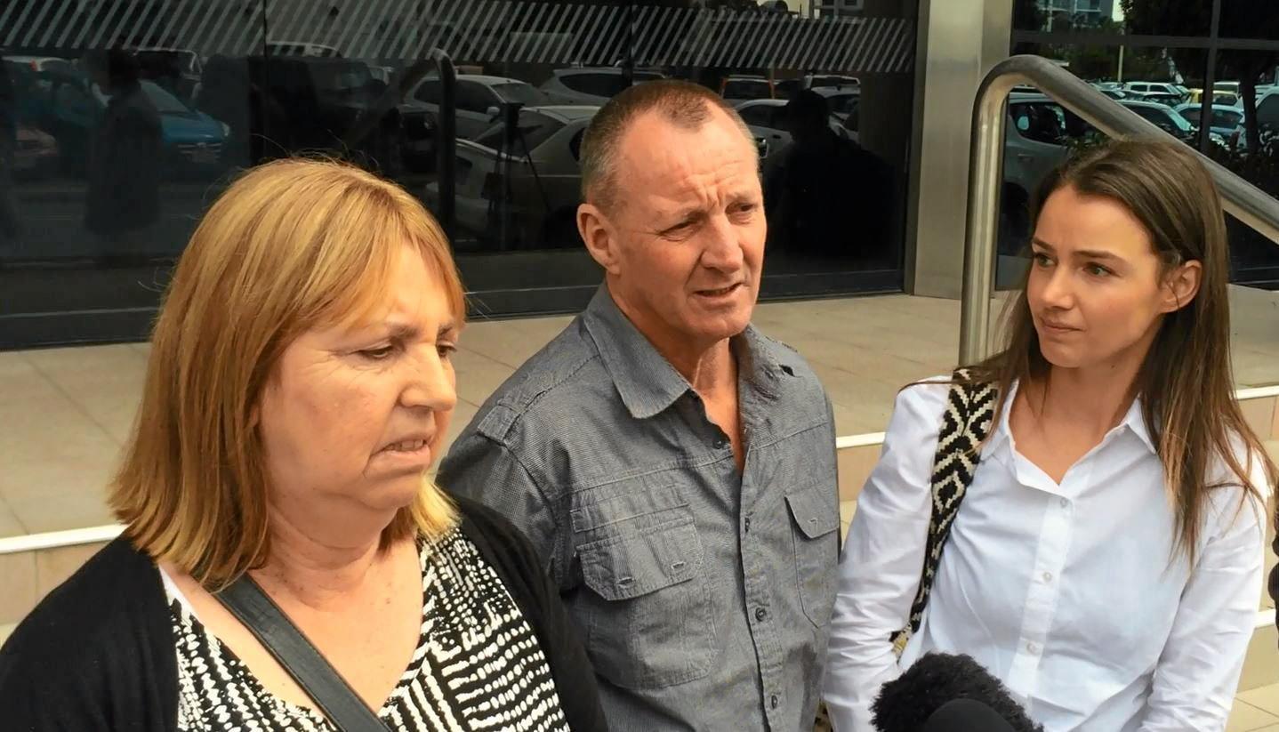 Julie Watt, her husband Mark Watt and their daughter Tahnee Haynes speak outside Maroochydore Court after a man was sentenced for causing a crash that killed their son and brother, Jayden Watt.