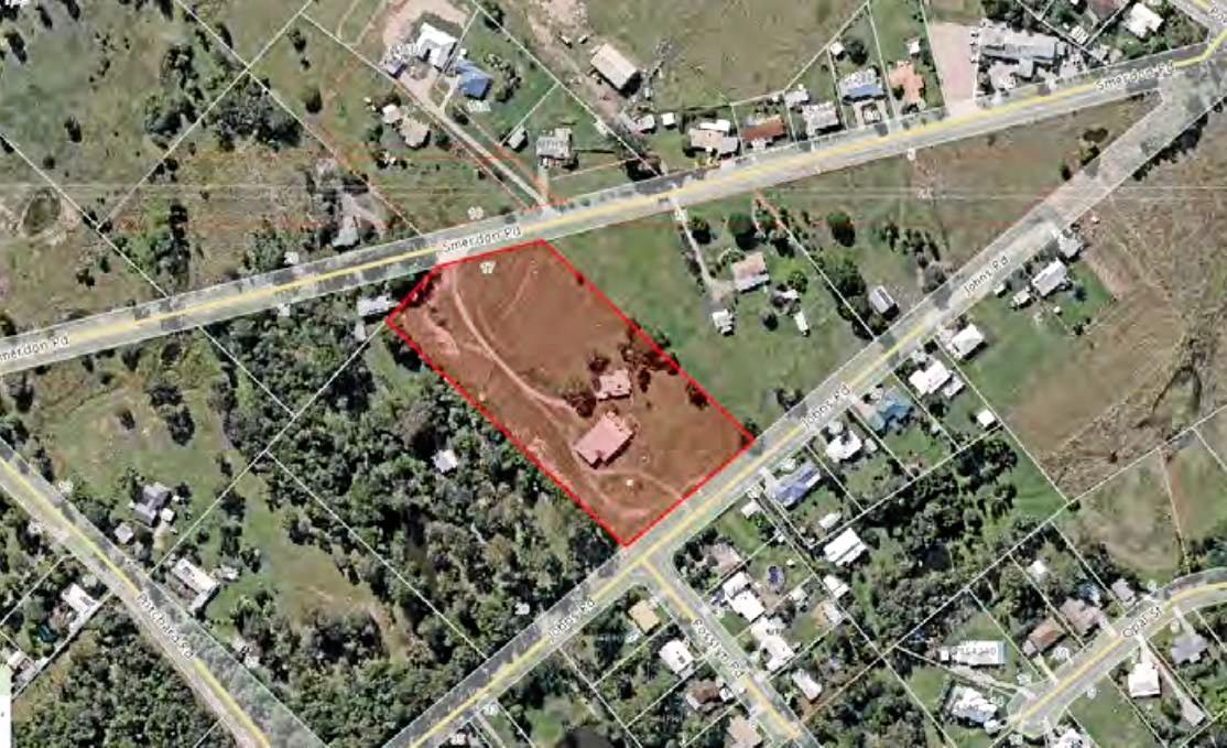 An aerial photo of the subdivision site on Smerdon Rd, Southside.