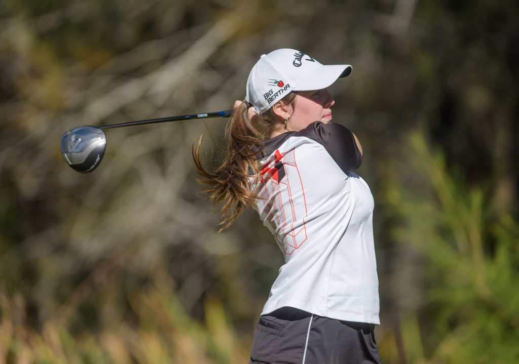 Courtney Fuller watches her tee shot down the 12th hole in the second round of the Grafton Ladies May Tournament.
