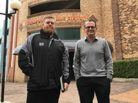 WHEN NATURE CALLS: Big Dog Security's Kurt Schulte-Schrepping and (right) Safe Night Precinct Toowoomba president Brad Fitzgibbons are tackling public urination with State Government funding.