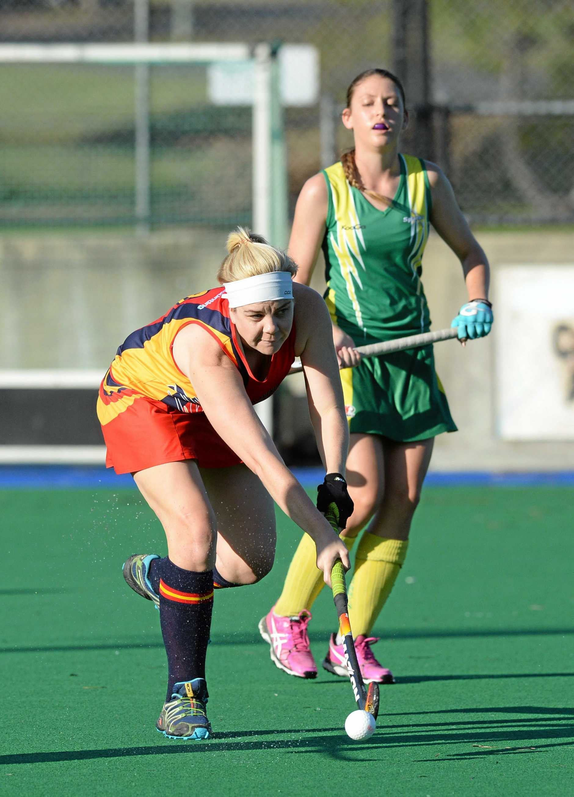 Park Avenue player Tyneille Madden in the hockey game between Park Avenue and Sparks at Kalka Shades on Saturday.   Photo: Chris Ison / The Morning Bulletin