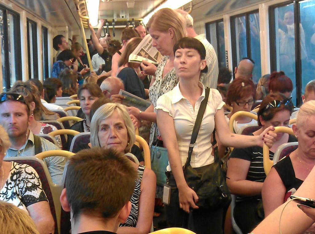 Commuters on the Brisbane to Sunshine Coast train.