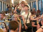 Commuters on the Brisbane to Sunshine Coast train.