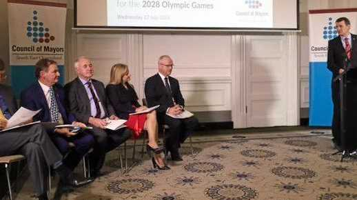 Mark Jamieson at the Council of Mayors meeting for Olympic bid