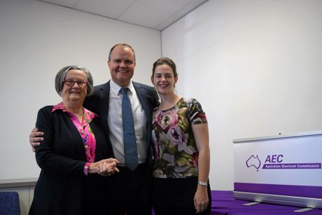 FAIRFAX: Newly declared Fairfax MP Ted O'Brien with his mother Bernice and his wife Sophia.
