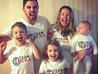 BIG CHEER: Carlie Slattery (top right) with her husband Madison and kids Ashton, Eva and baby Milla celebrate Carlie's cousin Elena's win in MasterChef last night.