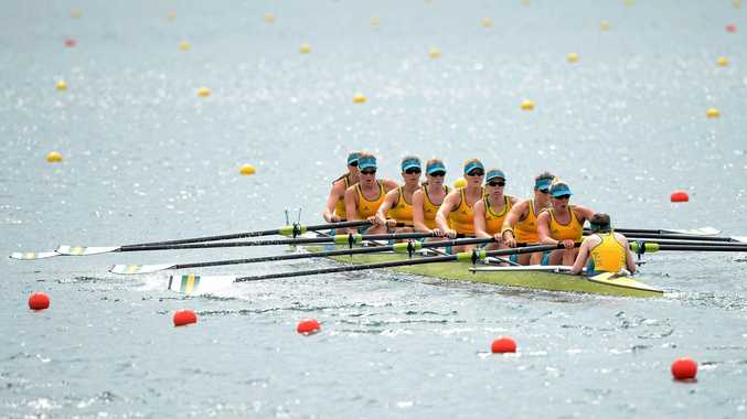 GRATEFUL EIGHT: The Australian women's eight rowing team in action at the 2012 London Olympics.