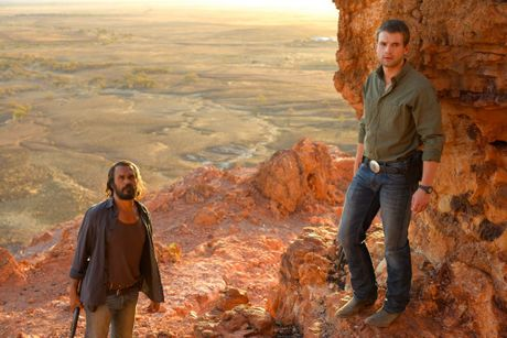 Aaron Pedersen and Alex Russell in a scene from the movie Goldstone.