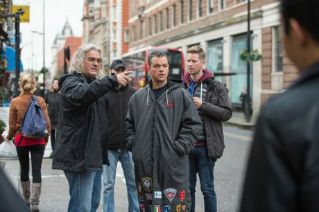 Director Paul Greengrass and Matt Damon pictured on the set of the movie Jason Bourne.