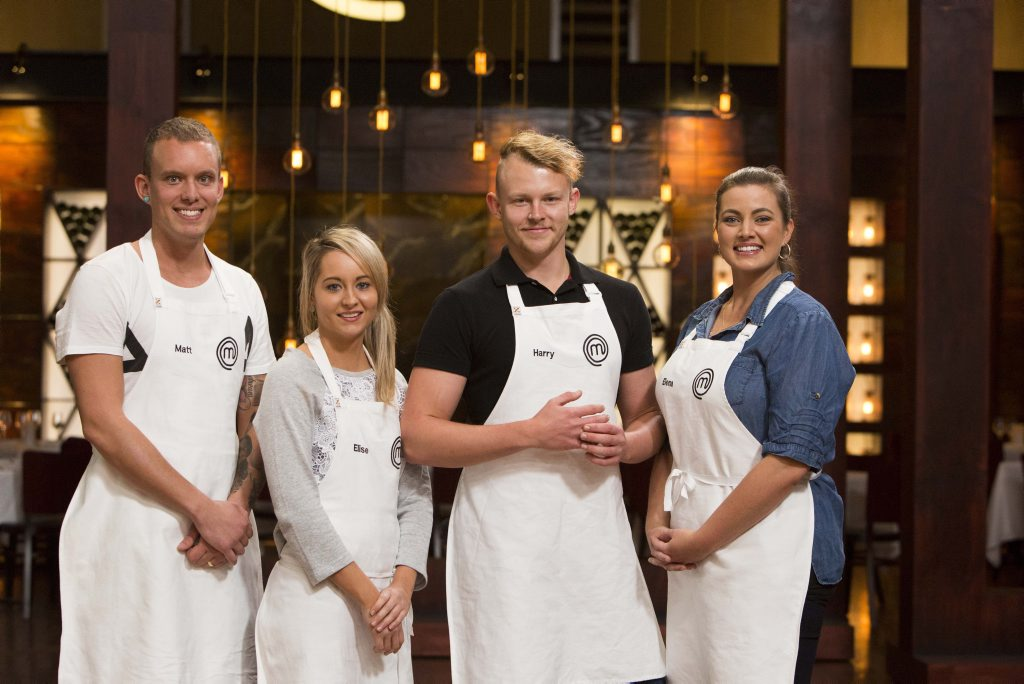 MasterChef's final four contestants, from left, Matt Sinclair, Elise Franciskovic, Harry Foster and Elena Duggan. Supplied by Channel 10.