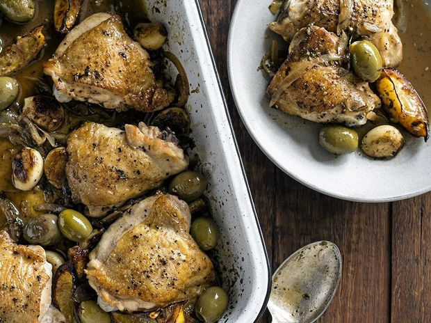 Sticky chicken with ouzo, olives and charred lemons.