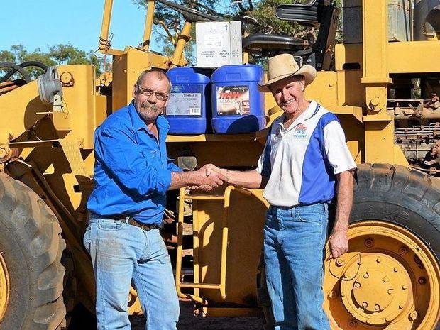 HELPING HAND: Calvin Bartley and Brad Todd at Winhaven at Aramac.