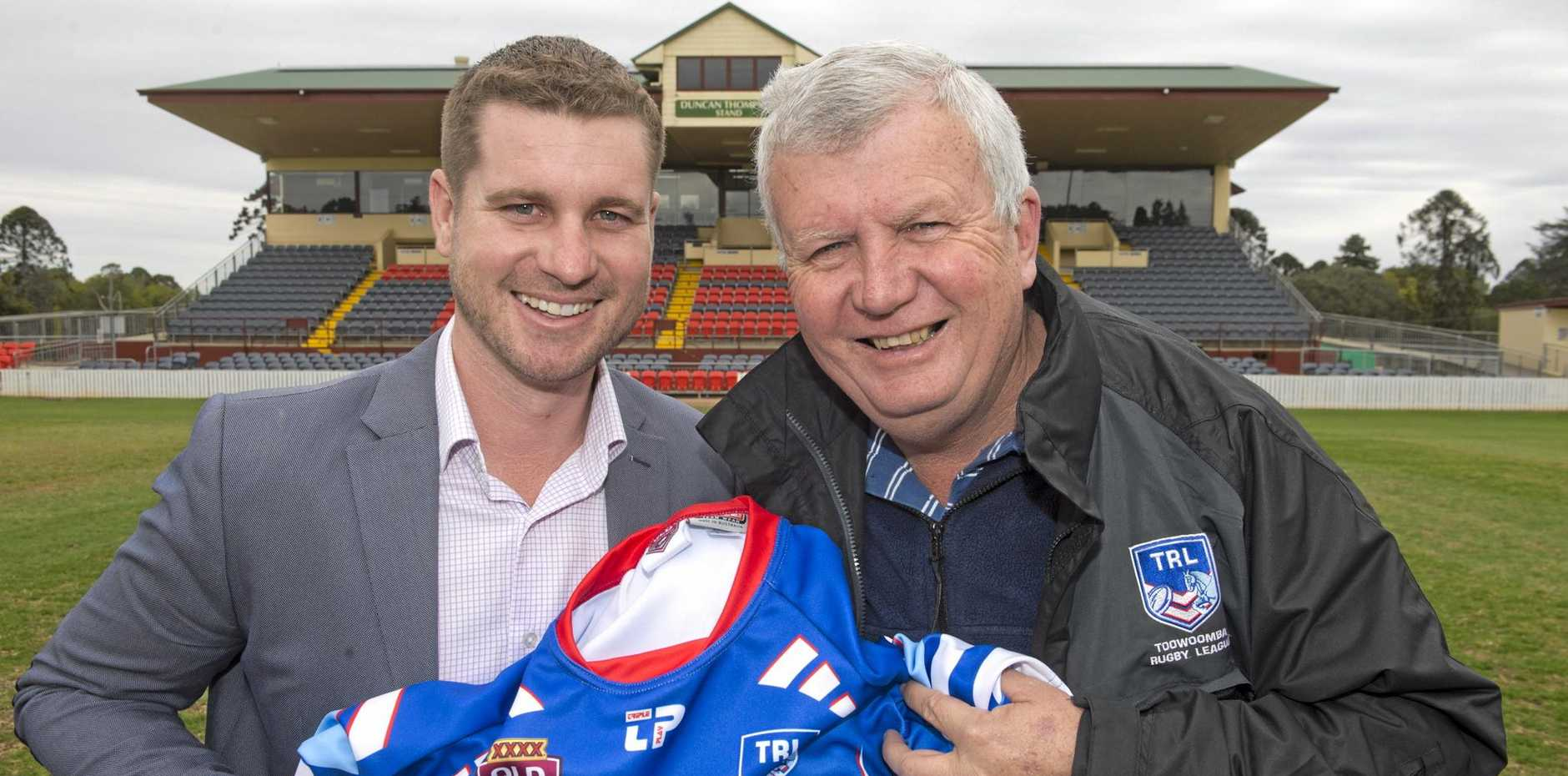 TEAMING UP: Robbie Witt and TRL chairman Brian Gilroy look forward to announcing the TRL Team of the Year.
