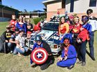 Super Hero Day at Hervey Bay Hospital - staff members dress up in their favourite super hero outfits and are pictured with Michael and Amanda Christensen whose son Cooper passed away a year ago from brain cancer.