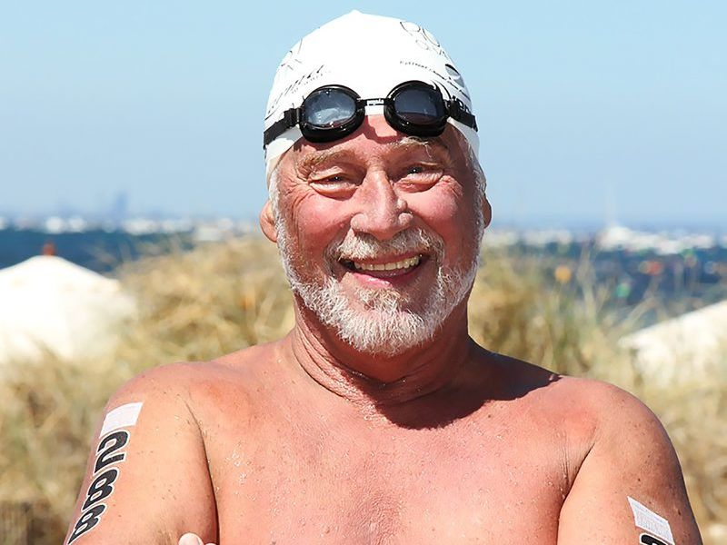 Chris Shapland has just finished swimming across the English Channel.